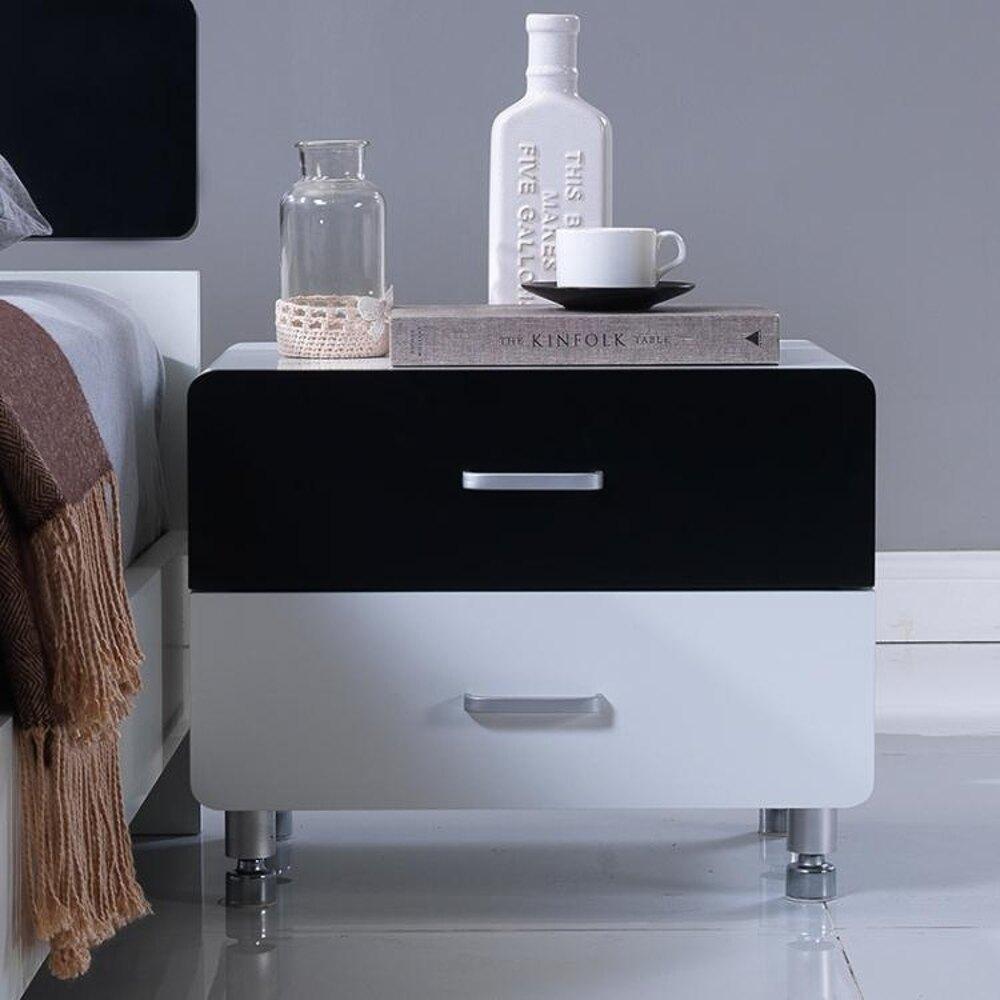 現代簡約烤漆床頭櫃象牙白色 韓式床邊儲物櫃子 板式床頭櫃置物台 MKS全館免運