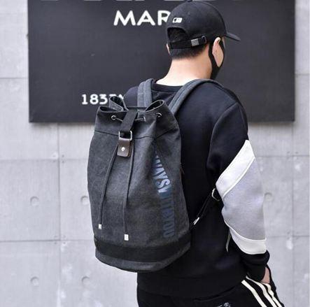 登山背包雙肩水桶抽繩背包帆布大容量行李戶外旅行登山運動籃球書包