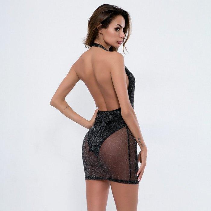 歐美新款女裝 燙鑽拼接薄紗深V裸胸露背夜店洋裝連身裙 2色 SD4862
