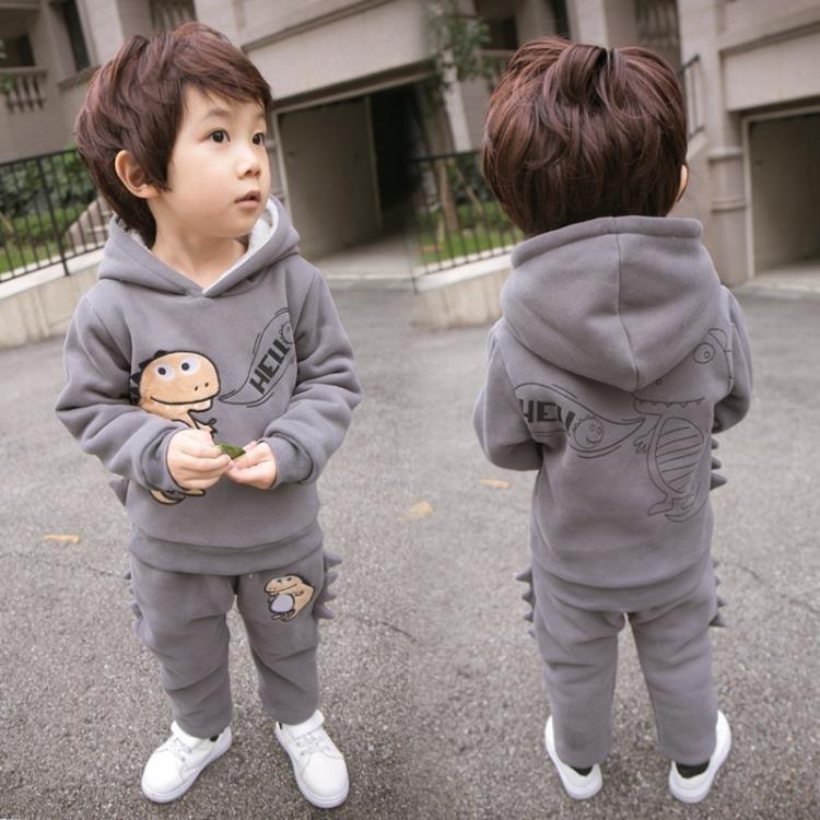 2017新款兒童寶寶冬季加絨加厚兩件套裝 LQ284『miss洛羽』