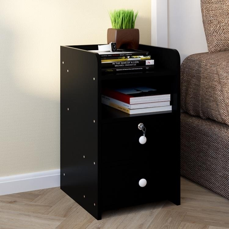 簡約床頭櫃創意床頭櫃帶鎖收納小櫃子儲物櫃臥室組裝邊櫃粉色   領券下定更優惠