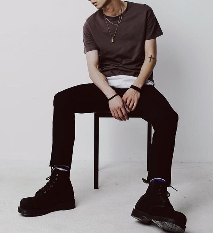 FINDSENSE MD 時尚 男 潮 街頭 修身 暗黑 毛邊 簡約 牛仔褲 九分褲 小腳褲