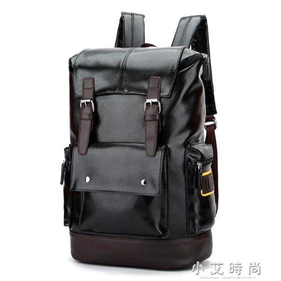 韓版後背包男時尚潮流書包男士旅行大容量皮背包休閒電腦男包