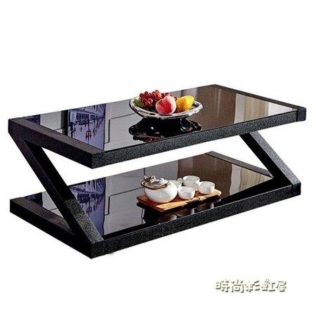茶幾簡約客廳茶桌黑色鋼化玻璃茶幾餐桌兩用長方形創意小茶幾桌子MBS 清涼一夏钜惠