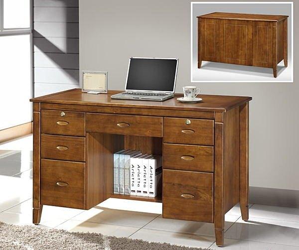【尚品家具】702-08 黃檀4尺2實木辦公桌/書桌(附5mm玻璃)~另有3.2尺~