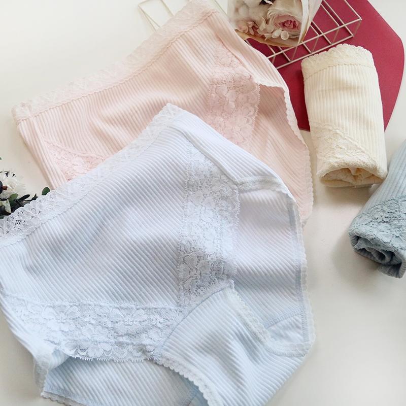 新品 簡約蕾絲邊豎螺紋超柔棉質中腰女士內褲三角褲 Ha141入