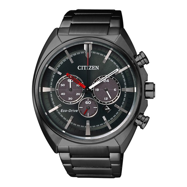 CITIZEN星辰光動能極速賽車計時錶-IP黑 / CA4285-50H