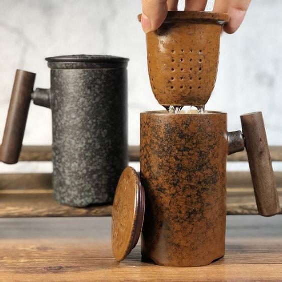 泡茶杯茶水分離過濾帶蓋杯家用陶瓷杯子大容量隨手同心杯馬克水杯