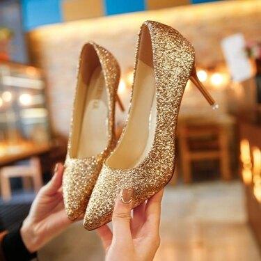 跟鞋 婚禮高跟鞋亮片婚鞋漸變色細跟單鞋伴娘鞋年會宴會  聖誕節禮物
