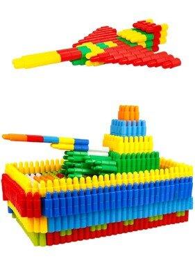 兒童塑料拼插子彈頭積木4-6歲幼兒寶寶益智拼裝男孩玩具1-2-3周歲   伊卡莱生活館  聖誕節禮物