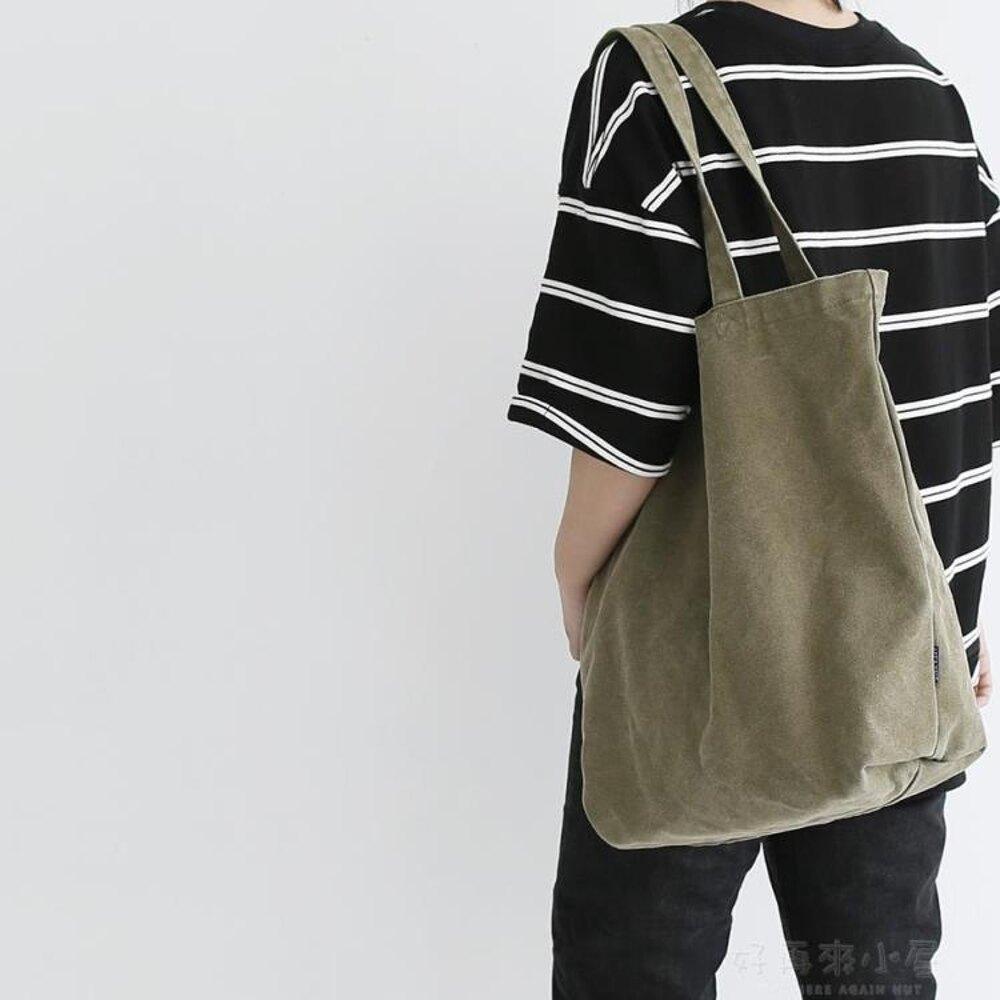 貓西原創大容量男女單肩包購物袋復古做舊帆布袋環保袋健身包新品 好再來小屋SUPER 全館特惠9折