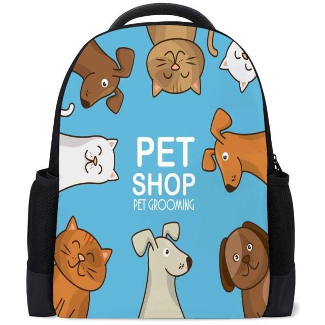 ZHIMI リュックレディース 大容量 バックパック PCリュック 防水 軽量 おしゃれ 多機能 ポリエステル 通勤 通学遠足 アウトドア メンズ兼用 可愛い 猫 犬柄
