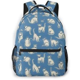 バックパック 白猫 Pcリュック ビジネスリュック バッグ 防水バックパック 多機能 通学 出張 旅行用デイパック