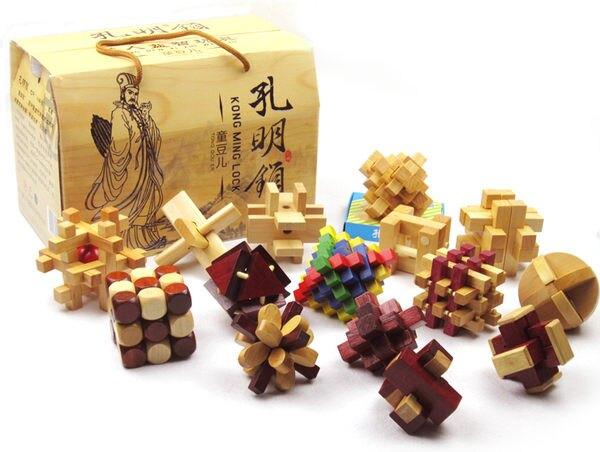 成人益智智力休閑玩具 孔明鎖魯班鎖魯班木制 解鎖解環禮盒16件套