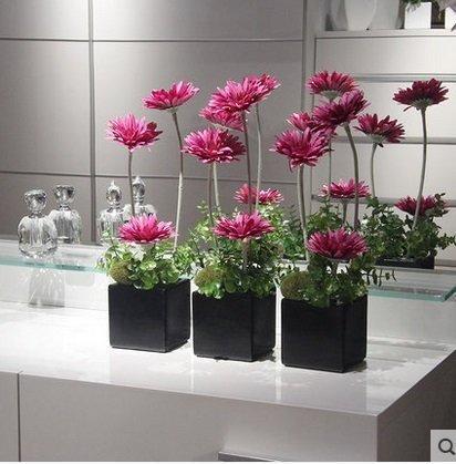 絹花仿真花套裝客廳假花盆栽擺設插花仿真裝飾花小盆花(一個價)(圖一)