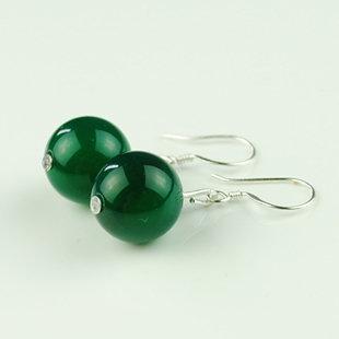 夏季必備 時尚清涼 水晶綠瑪瑙耳環 古典風情~絕美哦 12mm