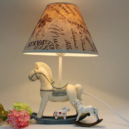 歐式創意複古搖擺木馬家居裝飾品擺件臥室床頭檯燈禮品可調節(圖一)