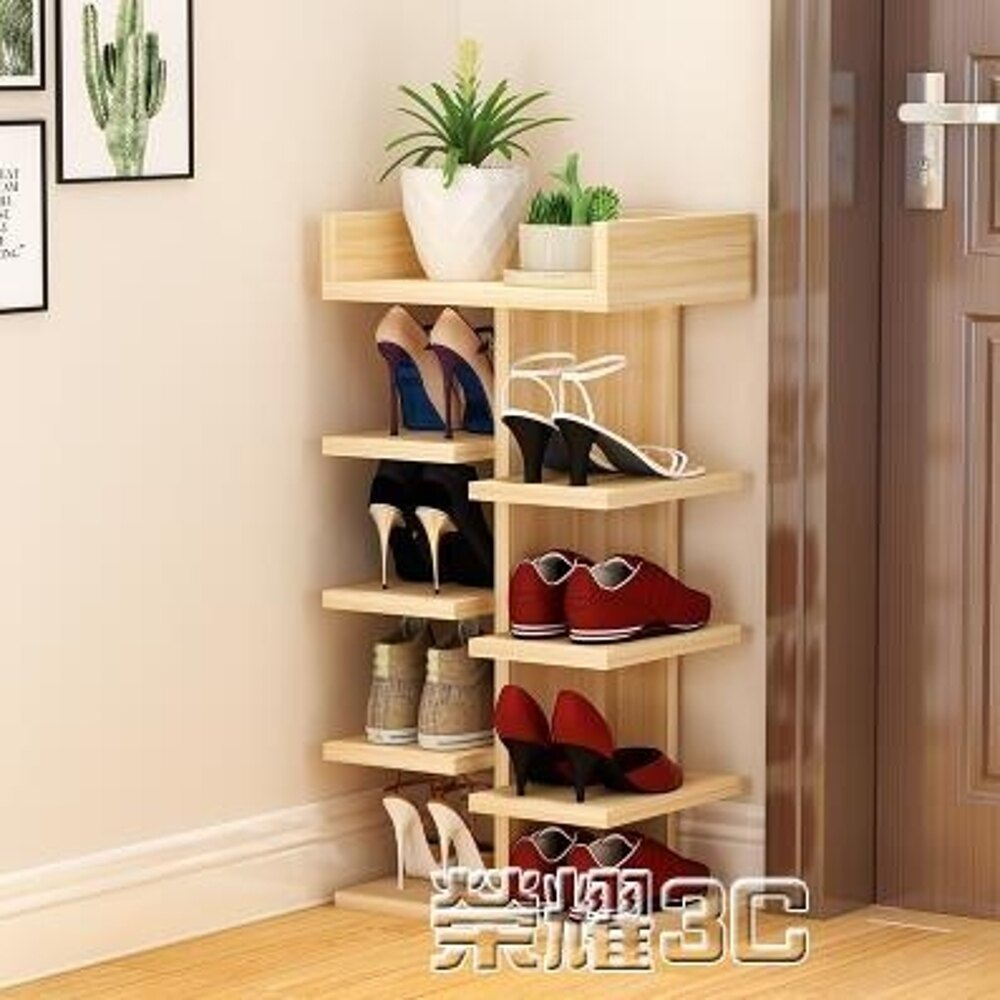 免運 鞋櫃 簡易實木鞋架家用多層鞋柜客廳多功能置物架經濟型防塵收納架
