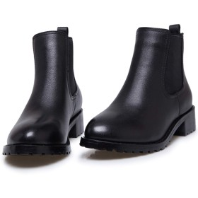 [AJGLJIYER LTD] レースアップ ショートブーツ レディース 長時間歩いても疲れない 秋冬 通勤 通学 アイテム 身長アップ 着痩せ 美脚 安定して歩きやすい 歩きやすい ブラック裏起毛 痛くない コーディネートしやすい 黒 24.0cm ブーツ