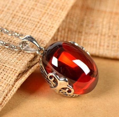 銀飾品 吊墜紅鑽石項鏈墜 銀手工銀飾項墜子