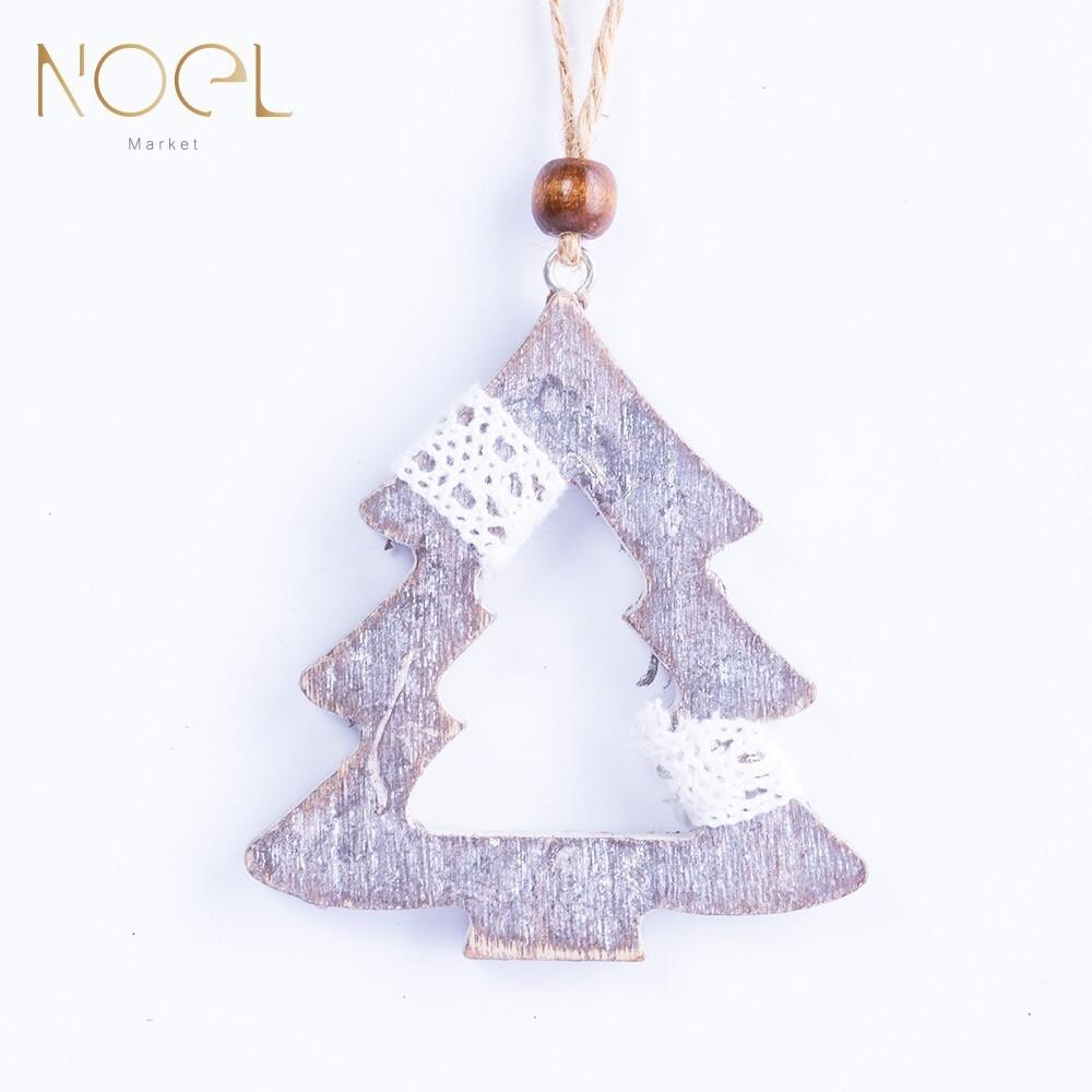 noel諾也市集灰色系木質麻聖誕吊飾-聖誕樹裝飾必備