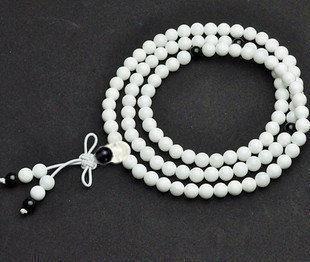 新款 水晶白硨磲配黑瑪瑙108顆佛珠念珠 轉運辟邪