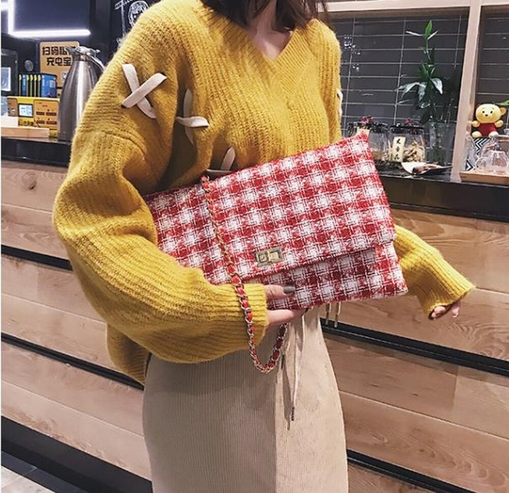 手拿包    大包包女潮韓版時尚休閒百搭格子鏈條單肩手拿包  瑪麗蘇