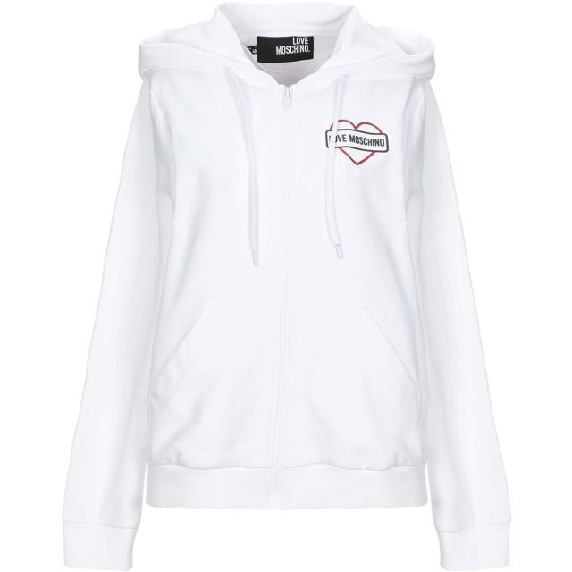 《セール開催中》LOVE MOSCHINO レディース スウェットシャツ ホワイト 38 コットン 95% / ポリウレタン 5%