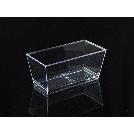 【嚴選SHOP】10入 無蓋 全透明無印刷 長方盒 慕斯 奶酪 甜品 透明杯 塑膠 烘焙用 甜點【G9845】