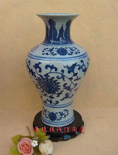 景德鎮陶瓷工藝品  官窯碎開片小觀音瓶 青花藝術瓷器 花插