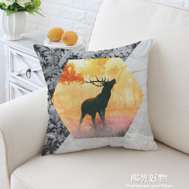 抱枕麋鹿大理石美式絨布麋鹿腰枕汽車靠墊辦公室沙發靠枕床頭靠背陽光好物 清涼一夏钜惠