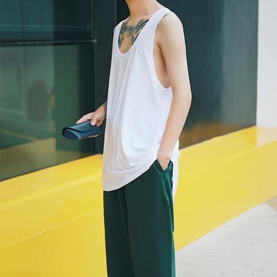 FINDSENSE品牌 男 時尚潮流 休閒 寬鬆 白色 素面 純色 打底衫 無袖T恤 背心 特色背心