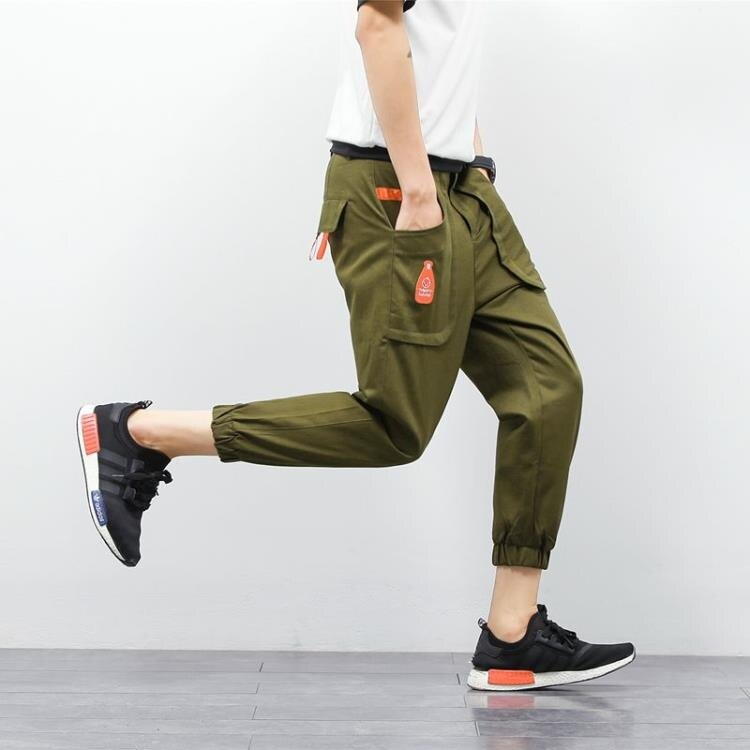 [超豐國際]韓版男士短褲夏季休閑小腳八分9分褲青年寬松束腳九