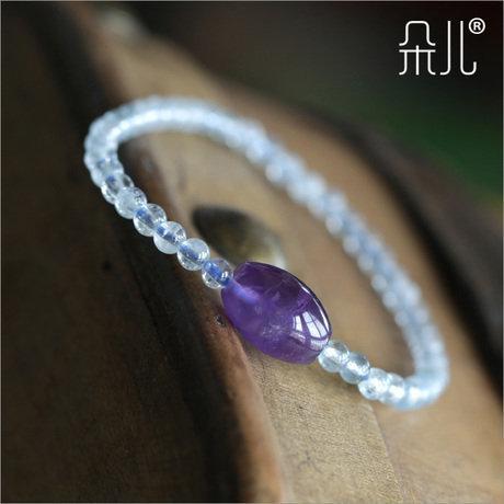 冰種海藍寶水晶手鏈 極度招財 女款海藍寶手鏈