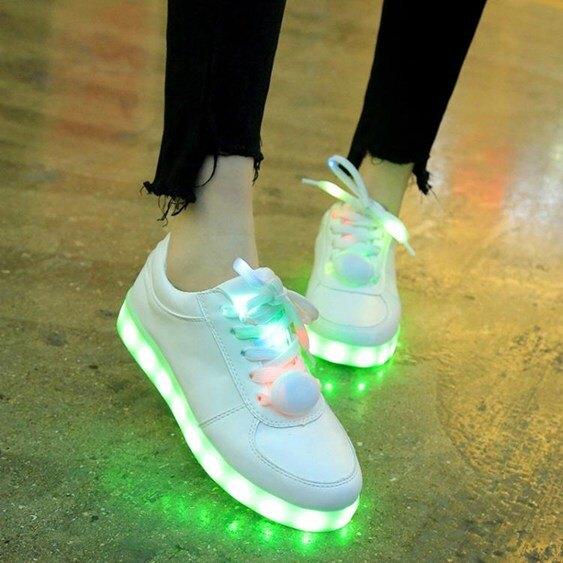 七彩發光鞋女學生韓版USB充電夜光鞋男LED閃  聖誕節禮物