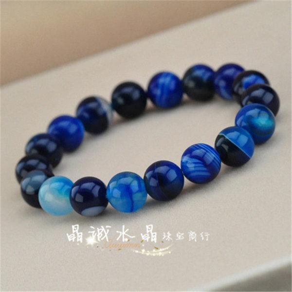 【晶誠】天然水晶天然條紋藍瑪瑙手鏈顏色漂亮 女 複古 百搭