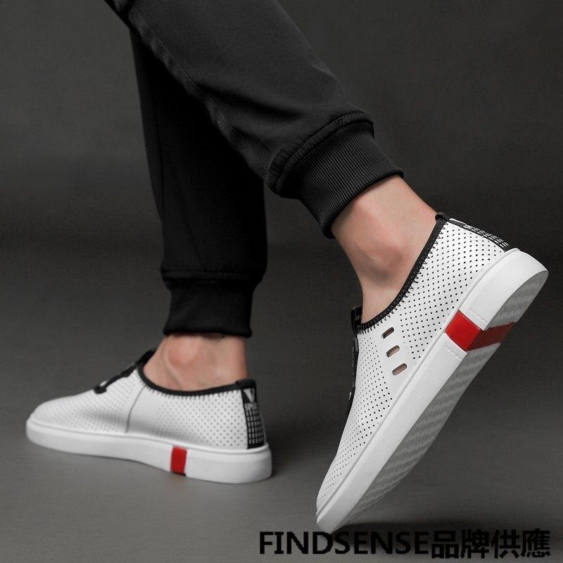 FINDSENSE品牌 四季款 新款 日本 情侶 高品質 真皮 一腳蹬小白鞋 舒適透氣 時尚 板鞋 運動休閒鞋 潮流鞋子