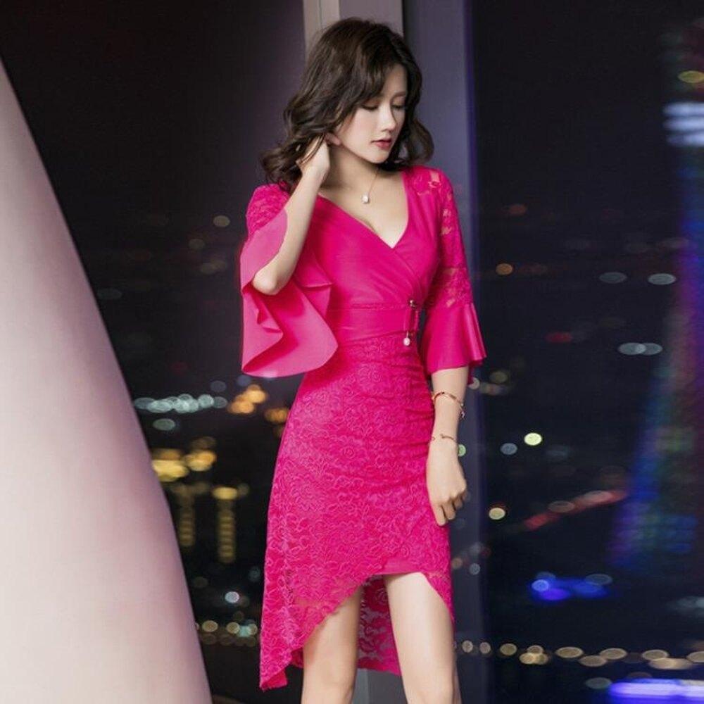 長洋裝夜場女裝性感蕾絲洋裝女新款秋裝氣質洋裝小禮服顯瘦中長款 618年中鉅惠