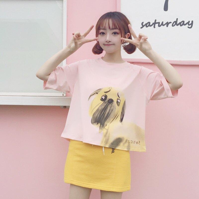 [超豐國際]日系動物印花寬松短款T恤圓領春夏女裝女生衣服短袖(1入)