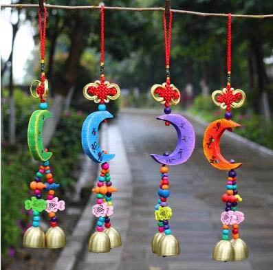 【中國結月亮風鈴掛飾-直徑4CM-2個/組】中國結月亮風鈴掛飾門飾銅鈴鐺牆上裝飾品-35011