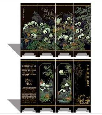 漆器 古小屏風 地區特色工藝品外事送老外出國禮品國寶熊貓