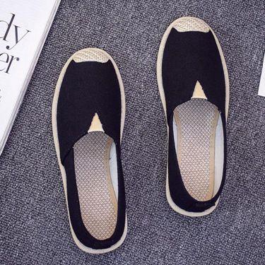 新款百搭帆布鞋女學生韓版一腳蹬懶人鞋女鞋平底布鞋漁夫鞋女  聖誕節禮物