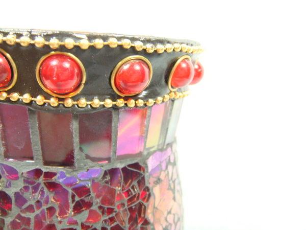 紅色炫彩鑲珠玻璃馬賽克貼片風燈
