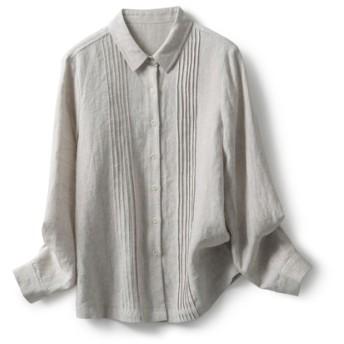 天然麻色 タック入りシャツ 長袖シャツ191012-1