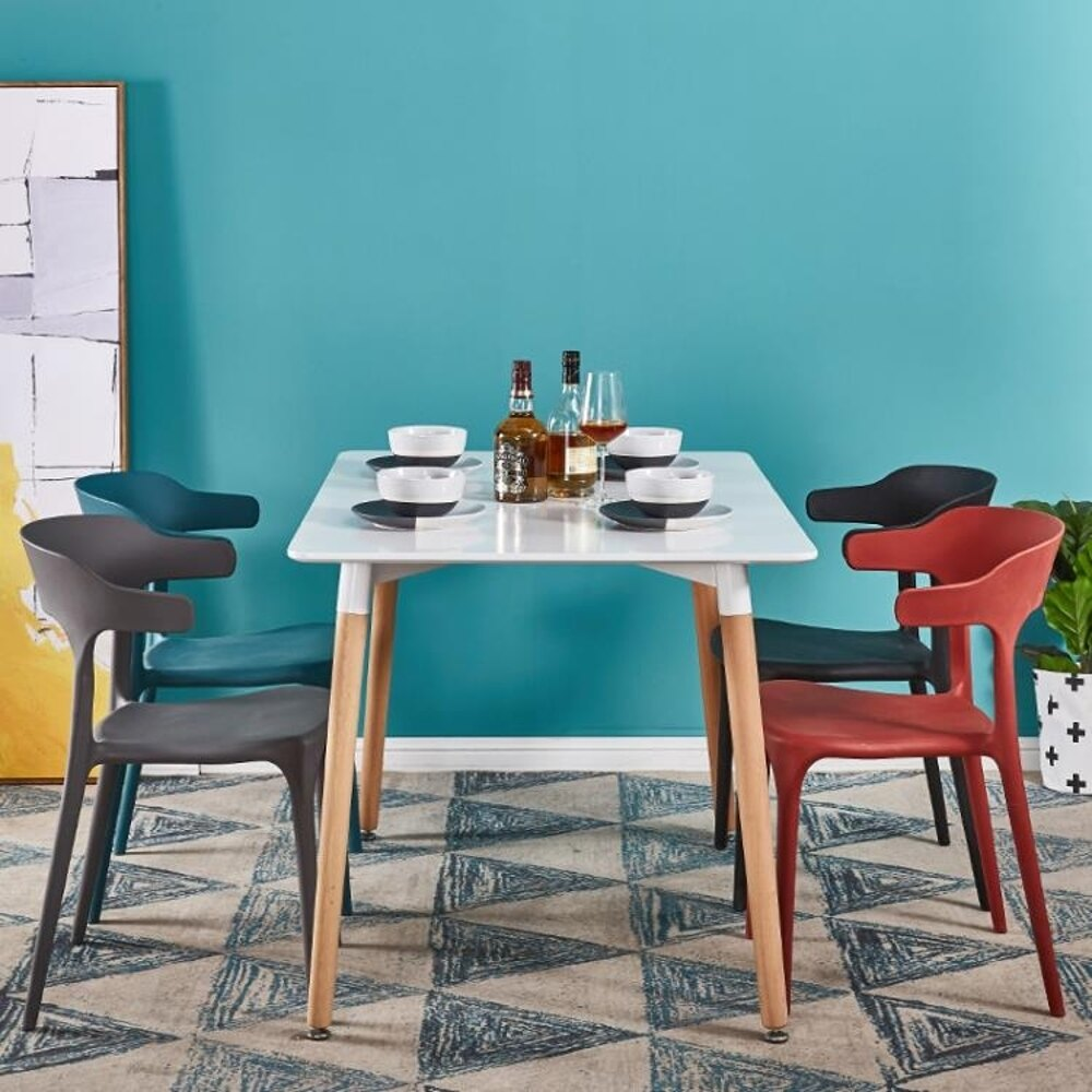 現代簡約創意塑膠椅子靠背家用懶人北歐咖啡廳奶茶店桌椅牛角餐椅ATF 雙12購物節