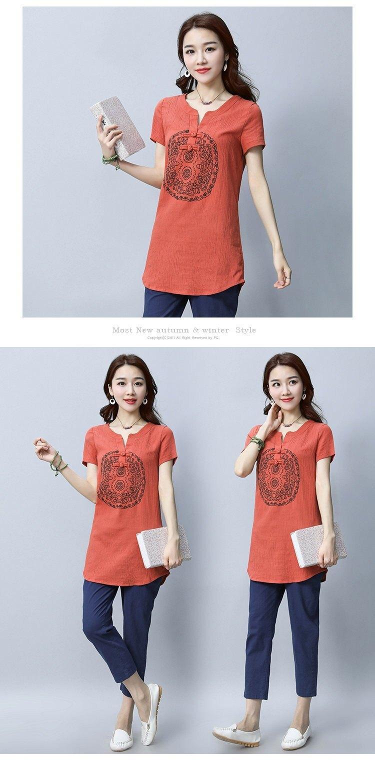 FINDSENSE G5 韓國時尚 棉麻 短袖 中長款 純色 復古 上衣 印花 短袖 T恤