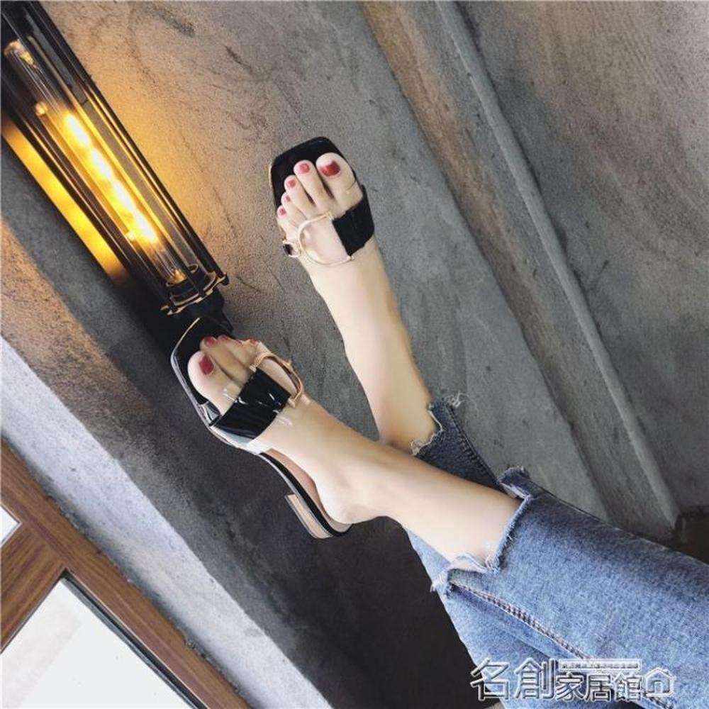 拖鞋 女 韓版新款拖鞋女夏百搭外穿同款時尚ulzzang中跟港風涼拖 名創家居館