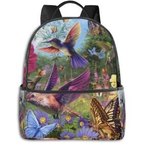リュック ハチドリと蝶 バックパック メンズ レディース スクールバッグ 軽量 おしゃれ 通学 大容量 旅行 プレゼント 防水 リュックサック