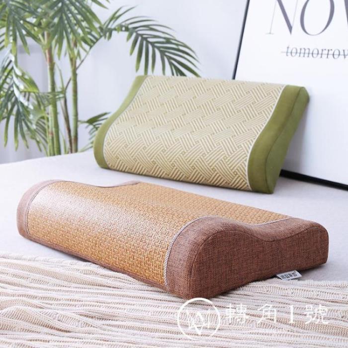 涼席枕頭 棉枕頭夏天涼枕成人單人整頭涼席枕