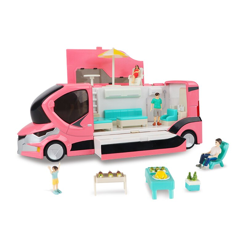╭。BoBo媽咪。╮凱迪威模型 禮盒裝 1:20 旅遊度假房車 場景 戶外燒烤 附人偶家具 旅行車